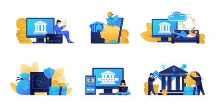 Online banking. Business and fintech concepts. Digital innovation of bank services. Financial application for electronic payments. Ilustrace