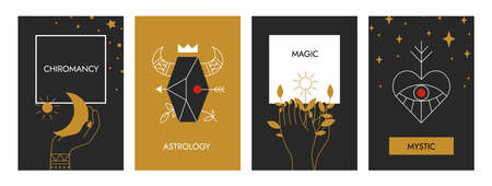 Boho posters. Astrology magical banners. Decorative occult contour symbols with floral and cosmic elements. Mystical outline human hands or Zodiac signs. Mystery cards with lettering, vector set Ilustrace
