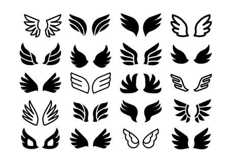 Wing pair icons. Simple angel or birds black silhouette and line symbols, eagle hawk and phoenix feather wings set.