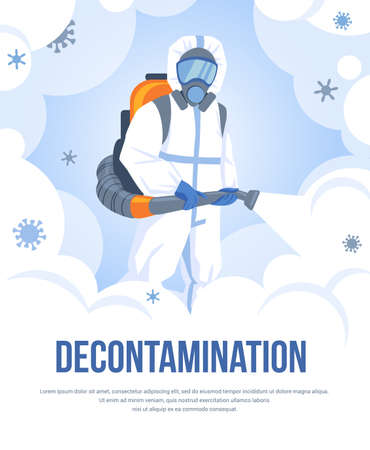 Decontamination. Viral and bacterial sanitizing. Cartoon worker with chemical cleaning equipment and protective biohazard suit. Man spraying disinfectant.