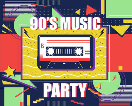 Cassette retro poster. 90s music. Abstract pop art banner. Colorful background with flat geometric shapes and stars or lightning. Audio recording tools.