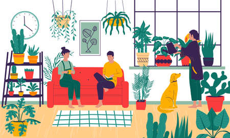 Home plants. Cartoon people grow plant in apartments. Comfortable room interior decorated with flowers in pots. Cute woman watering and taking care of houseplants. Ilustrace