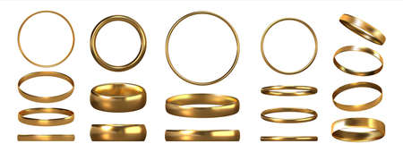 Golden rings. Realistic jewelry. View of shiny gold accessories from different sides. Collection of glossy metal jewels. Isolated traditional symbolic objects for wedding ceremonies Ilustrace