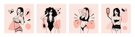 Female shapes poster. Abstract minimalist woman fashion character, trendy girl model body parts on pastel background. Women in modern swimsuit and underwear. Ilustrace