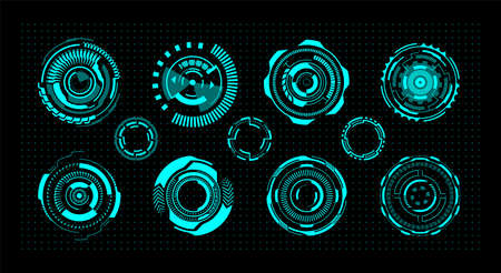 Hud circles. Futuristic digital UI round elements. Virtual leisure games interface templates. Isolated neon signs of modern radar or viewfinder. Ilustrace