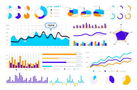Statistic graph. Graphic bars, round infographic pie charts, circle comparison diagrams, finance business presentation elements. Analytical information visualization kit.