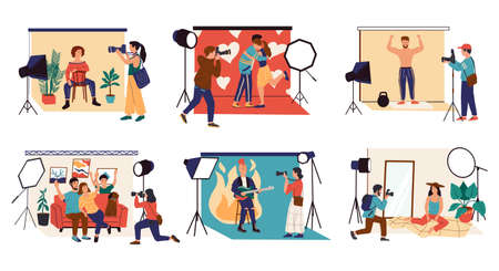 Studio photographer. Cartoon character with camera shooting couple, family and celebrity. Isolated fashion models posing.