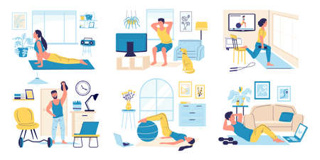 Home exercises. Cartoon men and women doing indoor sport activity. People watch video instructions. Cute scenes of training young persons. Ilustrace