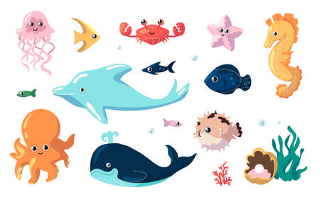 Cute sea animals. Cartoon funny fish swim underwater. Collection of ocean inhabitants. Isolated jellyfish and seahorse, dolphin or whale and octopus. Ilustrace