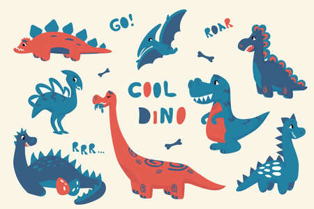 Cartoon dinosaur. Cute doodle baby dino isolated bright collection, flat style adorable characters for kids illustration. Vector childish drawing set. Ilustrace