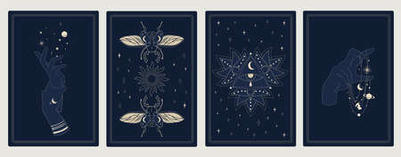Astrology posters. Mystic sacred symbols. Outline cosmic cards with planets and stars. Decorative symbolic insects and human hands. Occult eye signs. Ilustrace