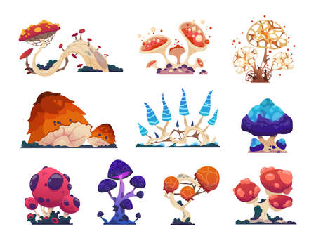 Fantasy mushrooms. Cartoon grebes. Mystical alien nature, unusual flora. Magical ingredient with poisonous or psychedelic effects. Collection of isolated fantastic colorful toadstools.