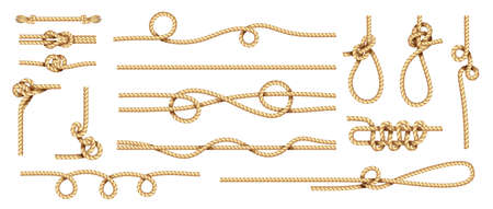 Realistic knots. Rope nodes and round cord threads. Isolated marine twisted loop. Collection of braided twines from hemp fibers. Yellow sailor cables with nooses. Ilustração