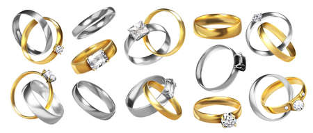 Wedding rings. Realistic jewelry. Golden ceremony rings. Silver honeymoon elements with shiny diamonds and precious stones. Isolated collection of luxury accessories from jewel metals Ilustrace