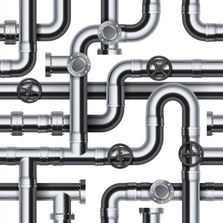 Seamless pipeline pattern. Realistic water and gas engineering plumbing system. 3D glossy steel cylindrical tube constructions. Round valves and pipe connection with bolts.