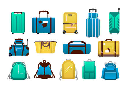 Luggage. Cartoon travel plastic suitcases and airport journey baggage, tourist trip backpack, bags and case bright colorful collection.