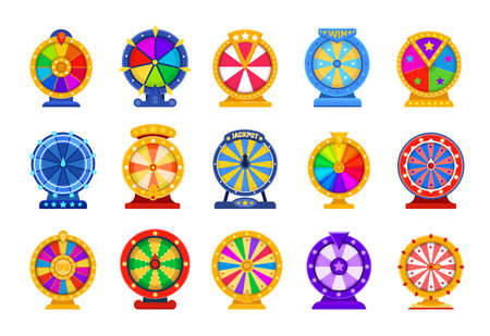 Spin wheels. Cartoon lottery circle. Fortune roulette games. Collection of rotating casino equipment for raffling prizes. Isolated colorful twisting drums.