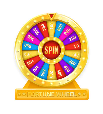 Fortune wheel. Cartoon rotating circle with colored sectors and arrow element. Lottery and random raffle prizes. Isolated spinning roulette. Win money or gifts.