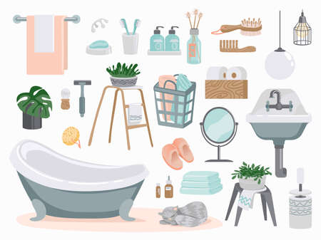 Bathroom elements. Cartoon plumbing and toilet furniture. White enameled washbasin and bath, mirror or towel holder. Ilustração