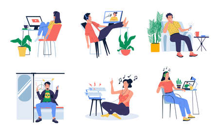 People listen podcast. Cartoon young men and women with headphones listening interview or music. Isolated characters watching video blogs in transport or at home. Modern leisure pastime, vector set
