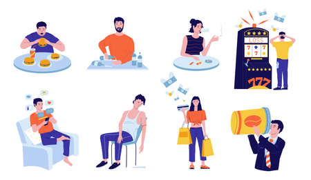Addictions. Cartoon people with harmful habits. Young persons addicted to drugs and food or drinks, electronic devices and network. Characters wasting money on gambling and shopping. Ilustrace