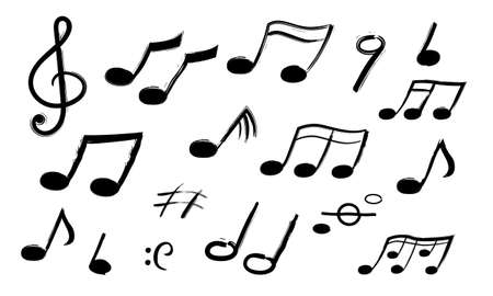 Music notes. Hand drawn sound symbols. Melody recording. Collection of isolated musical signs. Decorative outline black icons for musicians.
