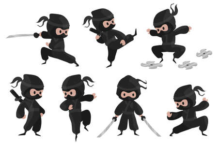 Ninja character. Cute cartoon fighter with sword for children illustration, prints and posters, funny asian warrior with sword emblem set.