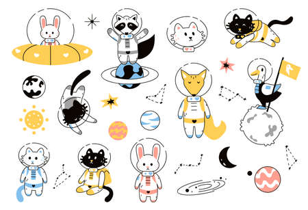 Space animals. Adventure astronauts on alien planet and galaxy. Cute cats and fox, rabbit or raccoon wearing spacesuits.