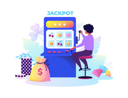 Gambling machine. Cartoon woman playing risky games. Casino electronic equipment for random raffling money with handle and spinning reels. Addiction to gamble.