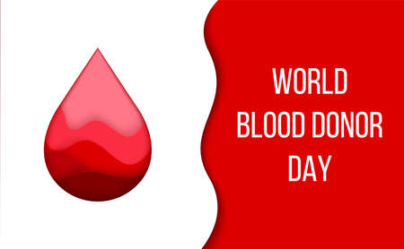 World Blood Donor Day card. Charity Event. Paper cut promotional poster. Abstract falling droplet with color gradient or decorative origami effect.