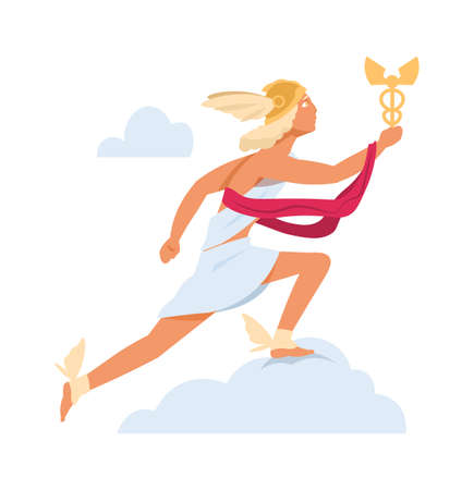Antique mythology character. God of Olympic pantheon. Cartoon young man in winged sandals and helmet. Running cute male in toga with gold scepter. Ilustrace