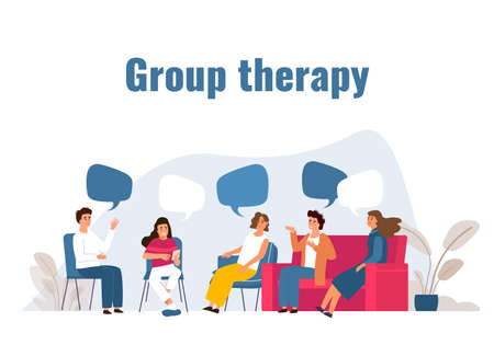 Group therapy. Addiction treatment session. Cartoon people with speech bubbles. Collective psychotherapy for mental health. Psychologist or psychoanalyst consultation.