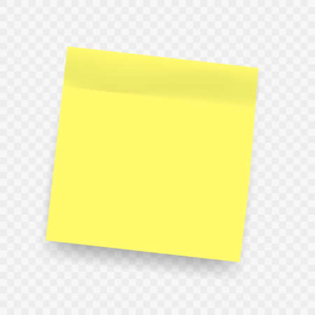 Yellow realistic sticky notes. Square post note isolated with soft shadow on transparent background.