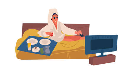 Woman spending weekend at home. Cartoon female drinking wine and watching television in bedroom. Isolated cute character lying on bed and eating snacks. Ilustrace