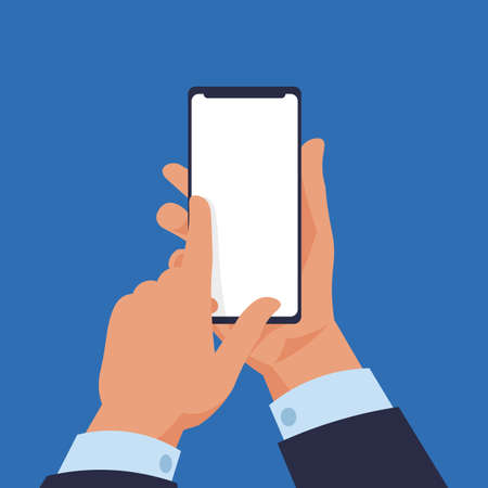 Hand holding smartphone. Cartoon modern mobile in human arms. White gadget touchscreen with copy space. Electronic device screen mockup. Phone application advertising. Ilustração