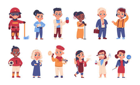 Kids in uniform. Cartoon cheerful children in costumes of different occupations. Choice of profession. Cute happy young characters wear suits of doctor and fireman, judge or postman, vector set Vektorgrafik