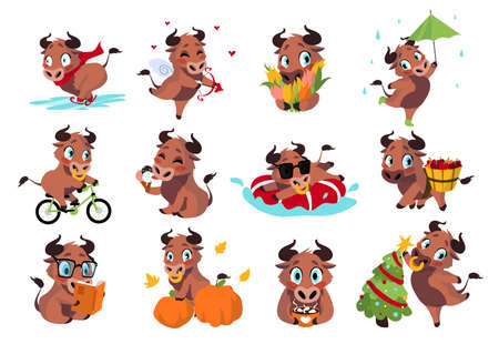Cartoon bull. Cute cow activities. New Year symbol character. Funny domestic animal working and spending free time. Isolated happy mammal mascot driving bicycle and studying. Vector decorative set