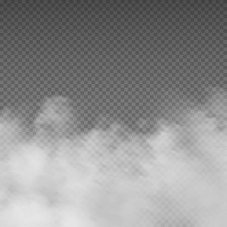 Smoke effect. Realistic white mist. Rising steam or gas on transparent background. Mysterious smog. Cloud of powder and dust, mockup for cloudy sky. Spooky fog, mystic fume. Vector decorative template Banco de Imagens - 164083378