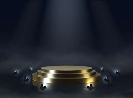 Golden pedestal. Realistic empty award or ceremony podium. Illuminated stepped platform with spotlights. Round glossy winner stage and puffs of smoke on floor. Vector dark template for presentation