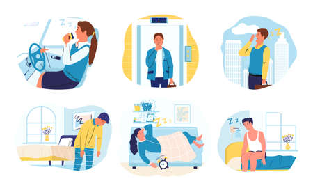 Drowsiness. Cartoon men and women want to sleep. Isolated scenes of bored exhausted people. Sleepy characters at home and work or in transport. Difficult awakening in morning, vector yawning persons Vector Illustration