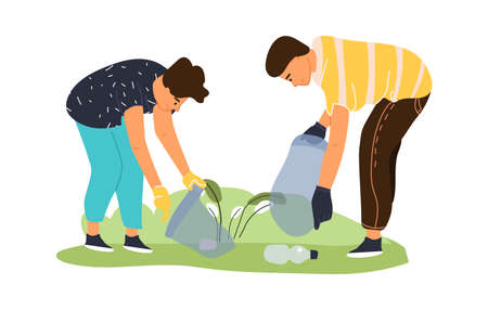 Cleaning area from garbage. Volunteers collect trash in field. Young people work together for recycling plastic waste in park. Cartoon man and woman putting rubbish in bag. Vector care for environment