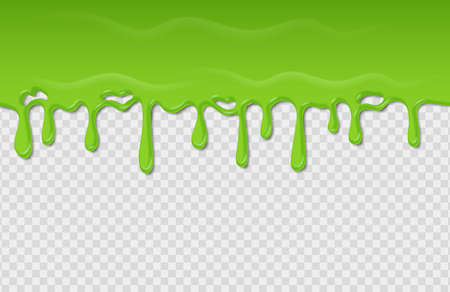 Slime seamless pattern. Dripping green radioactive substance. Spooky liquid wave on transparent background. Toxic splatter and blob mucus. Template of flowing horizontal border. Vector acidic frame 向量圖像