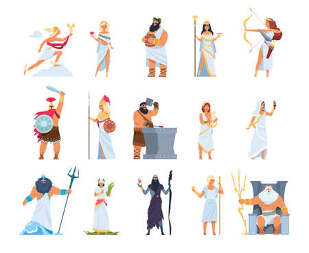 Cartoon Greek gods. Members of divine pantheon of Greece. Ancient mythology persons in white toga and golden helmet or wreath. Collection of Olympian deities, vector gorgeous legends character set