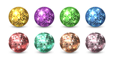 Disco balls. Night club glitter discoballs. Isolated shiny equipment for dance party. Glowing sphere from square and triangular pieces of colorful mirrors. Shimmering circles reflect light, vector set