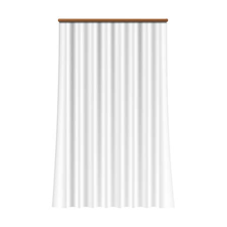 Realistic white curtain. Silk drapery on window. Classical room decor element, interior accessory for light protection. Hanging glossy fabric, decorative satin veil. Vector elegant drape template