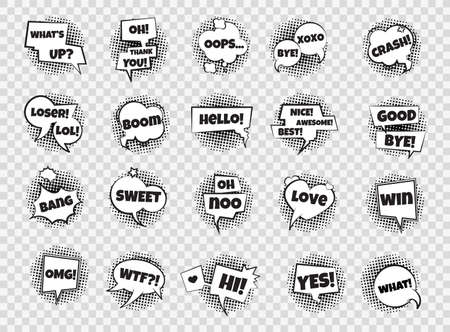 Comic speech bubbles. Cartoon pop art dialog frames. Collection of expressive phrases and exclamations. Explosion sign. Black and white cloud for message. Vector funny stickers set with lettering
