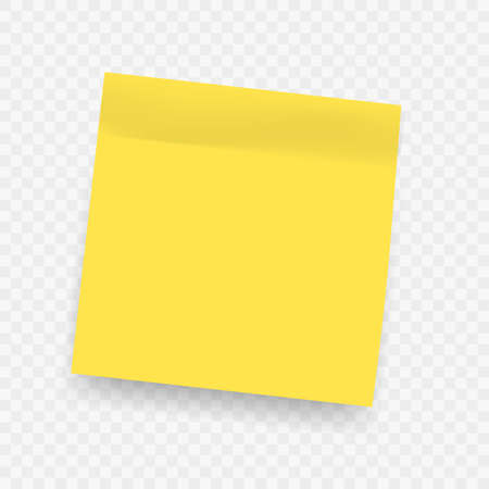 Yellow realistic sticky notes. Square post not with soft shadow isolated on transparent background. Vector message on notepaper, bright office stationery, memo blank, empty list reminder with glue
