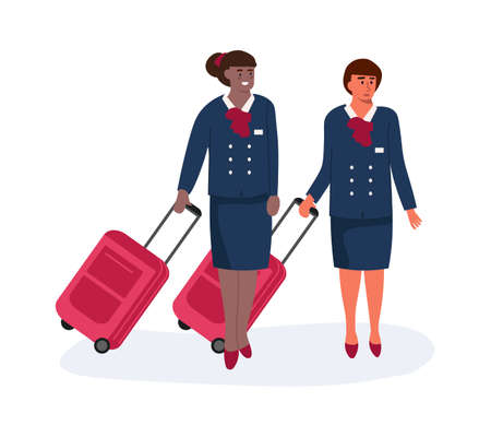 Air hostess. Cartoon stewardess with luggage. Standing women in uniform. Aircrew accompanies plane flight. Career and professional occupation concept. Vector airport employees with suitcases on wheels 向量圖像