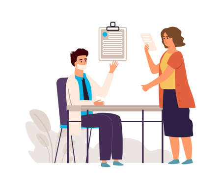 Doctor and patient. Medical check up concept. Cartoon physician consulting woman in clinic, therapist examining female and making diagnosis. Appointment with medic. Vector health care and medicine 向量圖像