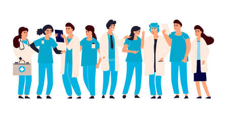 Doctor nurse set. Vector male and female hospital staff. Medical team doctors and nurses, therapist and surgeon in uniform standing, medicine profession occupation, cartoon isolated illustration